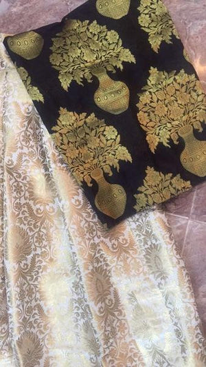 Beige And Black  Brocade Designer Lehenga Choli Online