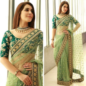 Gorgeous Green Net Saree Online Shopping India ,Indian Dresses - 3