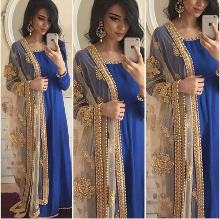 Designer Floor Length Blue Gown With Heavy Beads and Embroidered Dupatta.