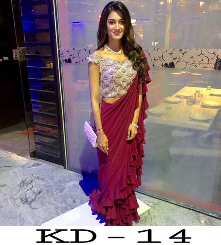 Erica Fernandes Wine Color Georgette Ruffle Saree Online