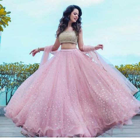 Hotseller Pastel Pink Net Party Wear Latest Lehenga Choli Online Shop