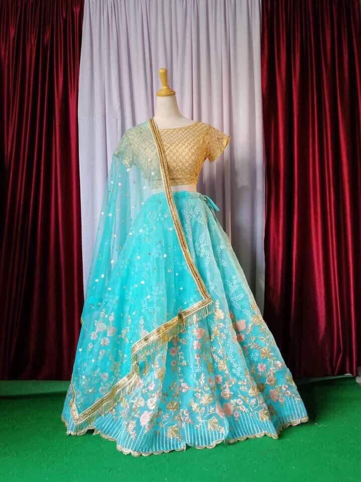 Sky Blue Embroidered Indian Wedding Ghagra Choli Online Buy