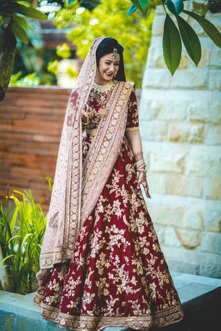Maroon Lehenga Choli Designs For Wedding With Price
