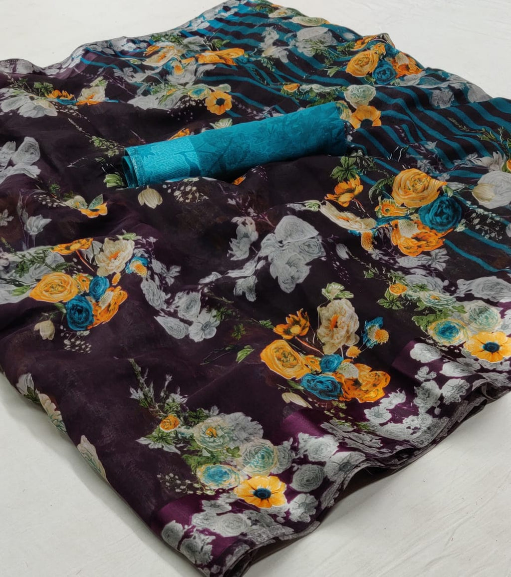 Brown Floral Linen Saree Digital Print And Blue Blouse