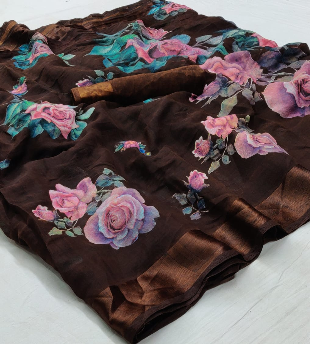 Brown Floral Linen Saree Digital Print And Blouse