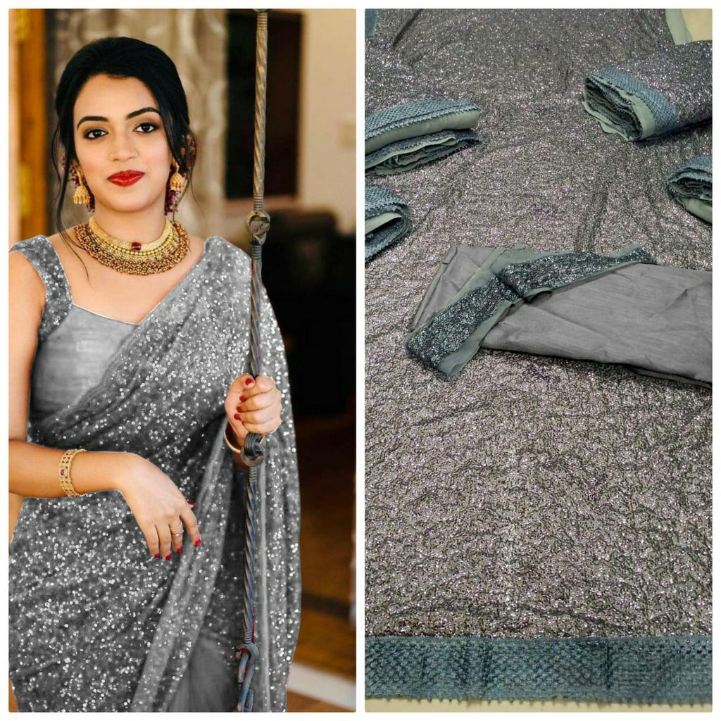 Grey Georgette Sequins Online Shopping For Ladies Sarees