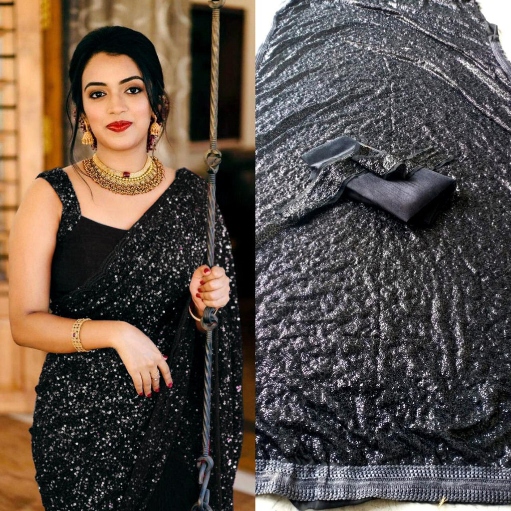 Black Georgette Sequins Online Shopping For Ladies Sarees