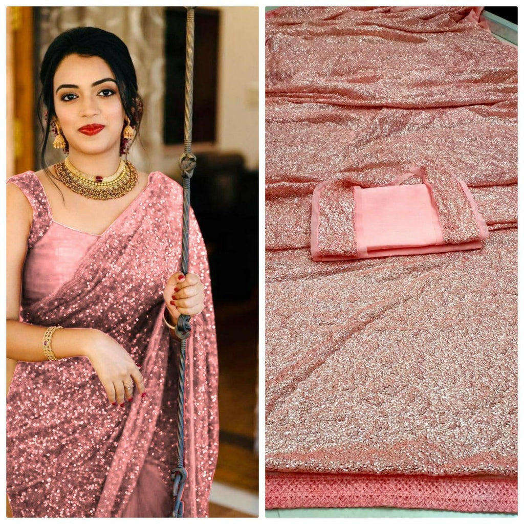 Pink Georgette Sequins Online Shopping For Ladies Sarees