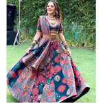 Italian Satin Digital Print Lehenga Suit Online Shopping