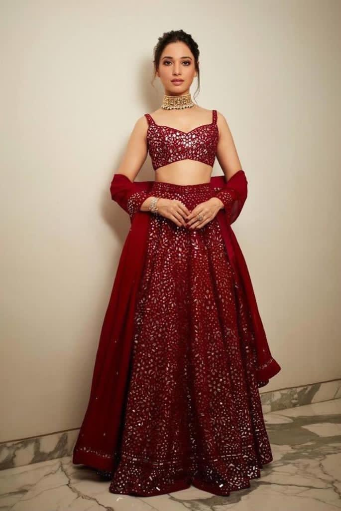 Red Georgette With Heavy Embroidered Lehenga Dress Online Shopping