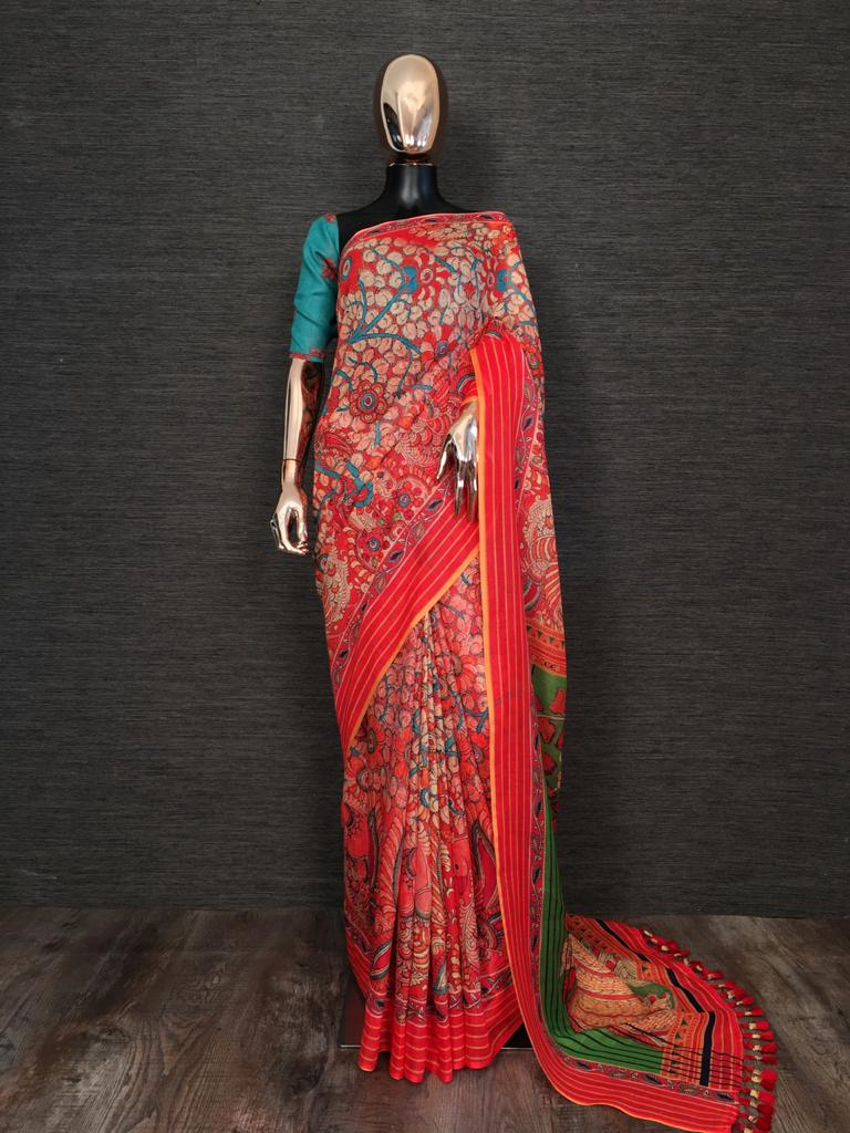 Red Linen With Print Tassels Sarees Online Buy