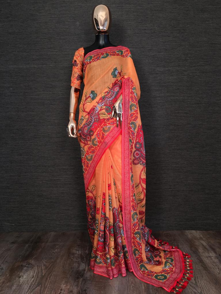 Orange Linen With Print Tassels Sarees Online Buy