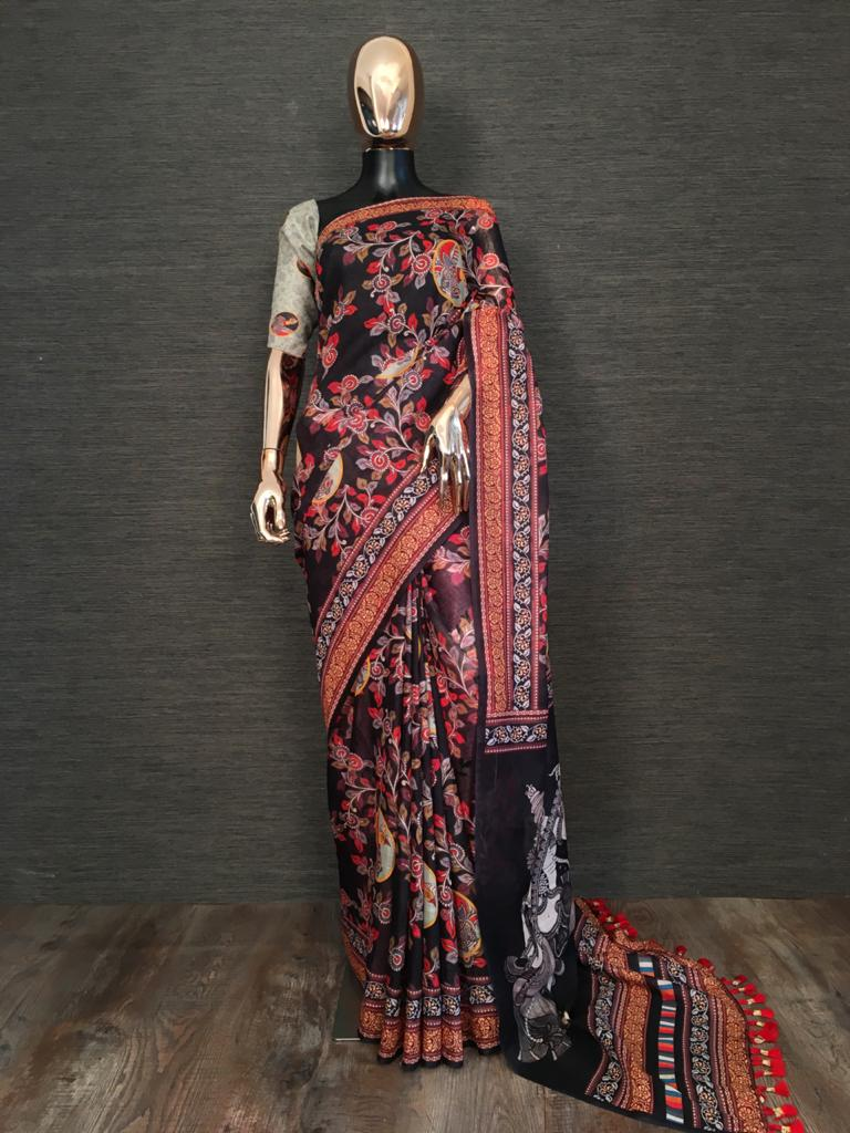 Black Linen With Print Tassels Sarees Online Buy