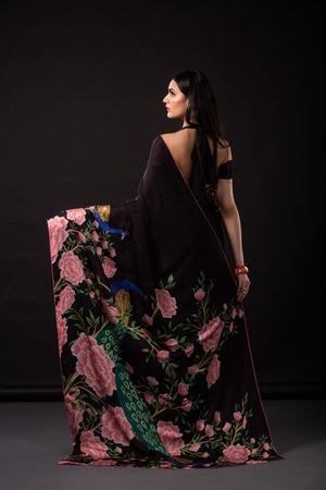 Black Heavy Crepe Silk Georgette New Indian Sarees Design
