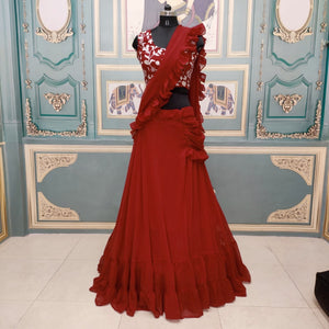 Red Lehenga Style Saree In Georgette New Design Online