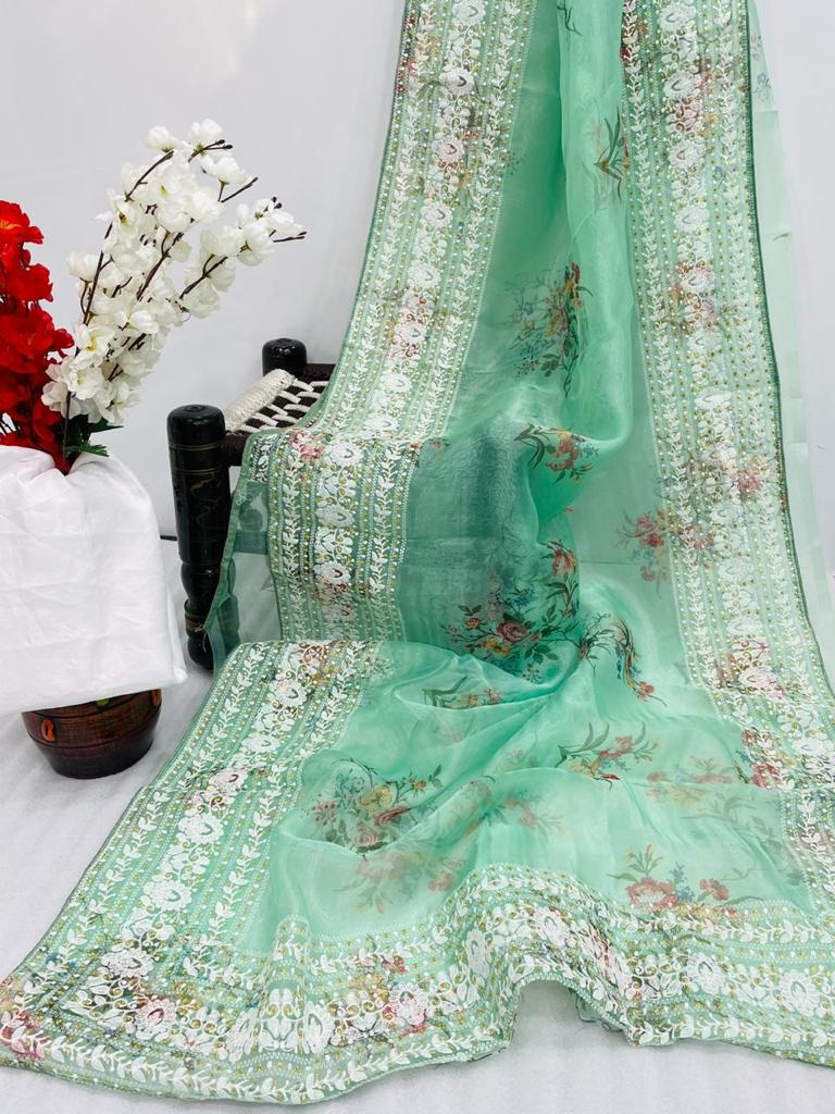 MINT GREEN ORGANZA SAREE WITH  DIGITAL FLORAL PRINTS