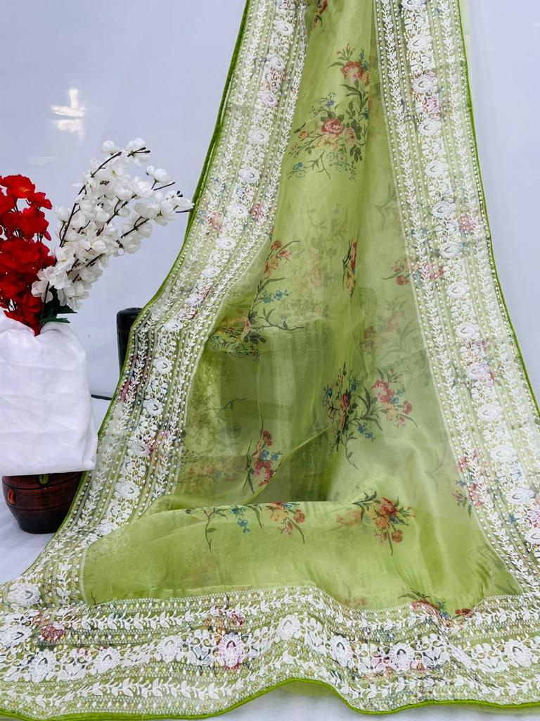 LIME GREEN PURE ORGANZA SAREE WITH  DIGITAL FLORAL PRINTS