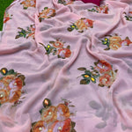 Soft Pink Pure Georgette's With Zardosi Hand Work Women's Saree Online Shopping