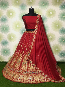 Red Taffeta Silk Fancy Lehenga Choli Online