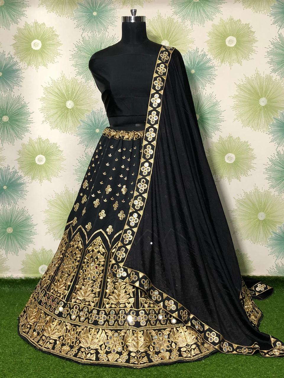 Black Taffeta Silk Fancy Lehenga Choli Online