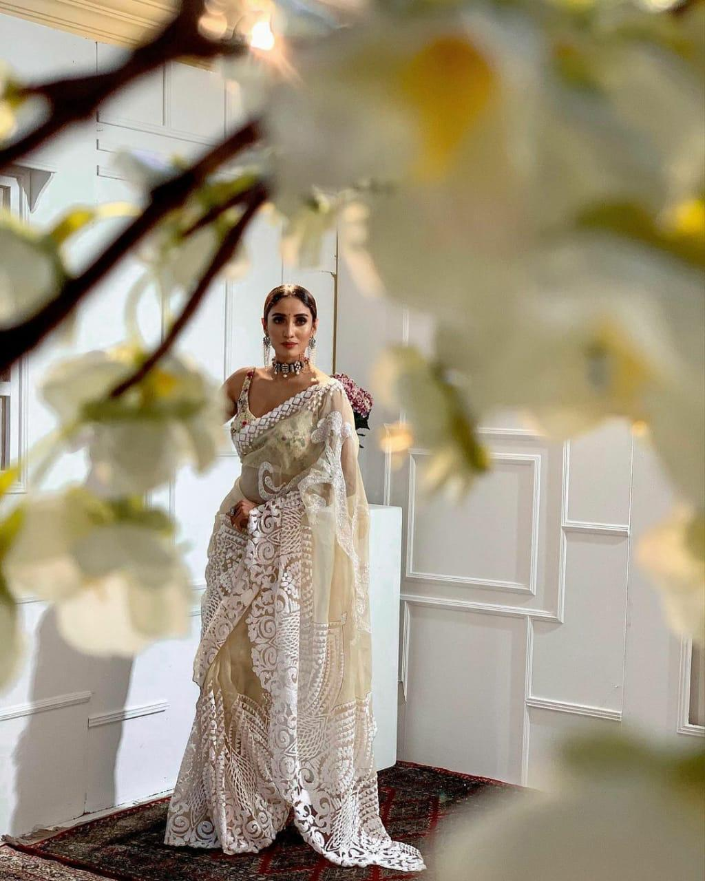 White Soft Organza Saree With Chikankari Work Online Shopping