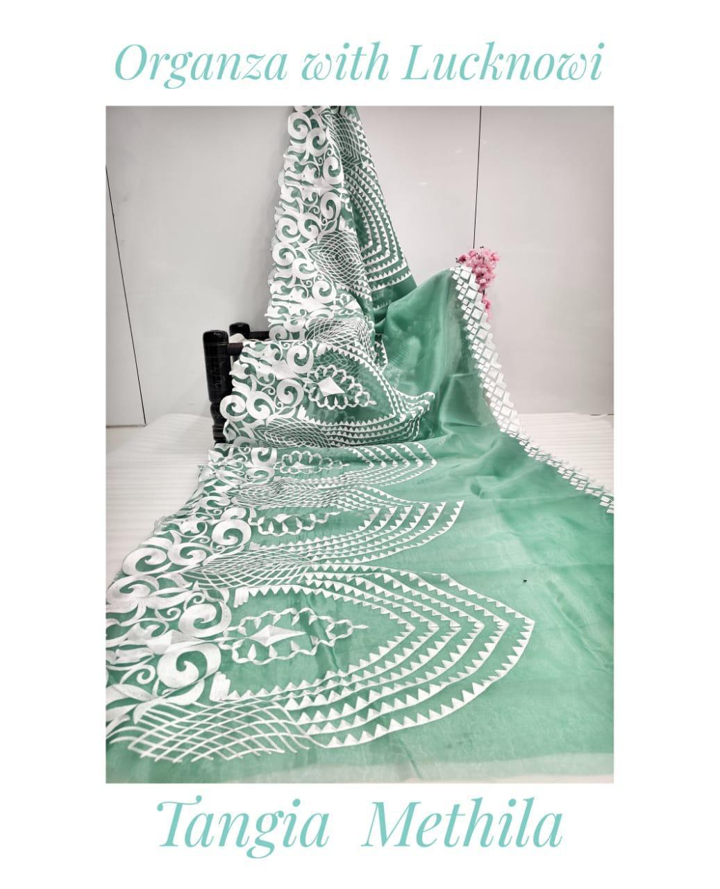 Mint Soft Organza Saree With Chikankari Work Online Shopping