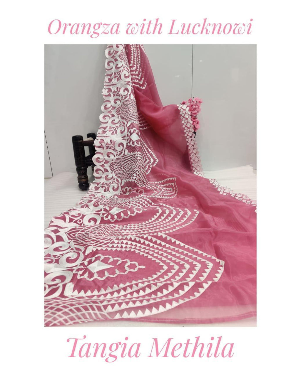 Soft Pink Organza Saree With Chikankari Work Online Shopping