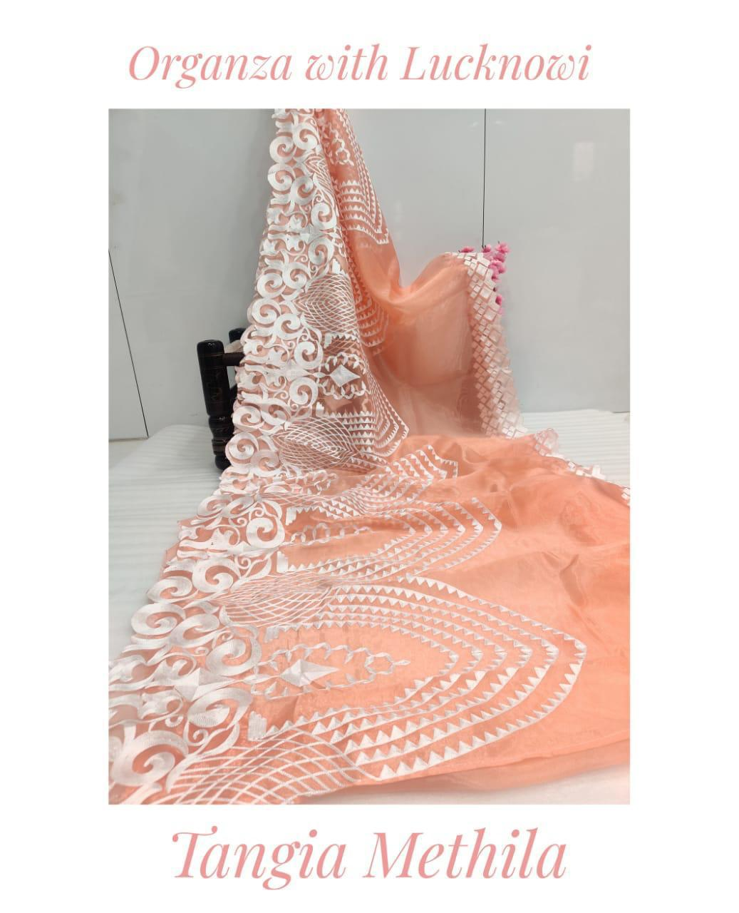 Peach Soft Organza Saree With Chikankari Work Online Shopping