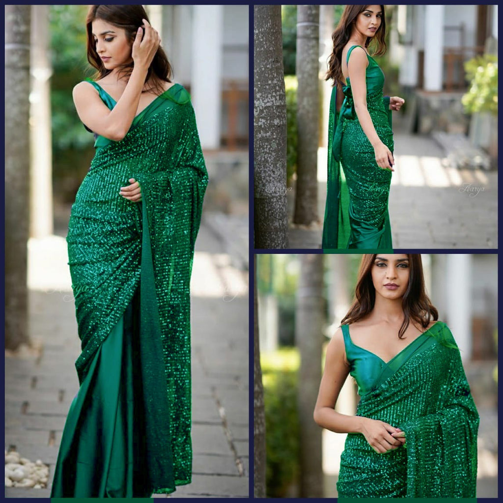 Green Heavy Georgette's With Beautiful Sequins Work Women's Saree Online Shopping