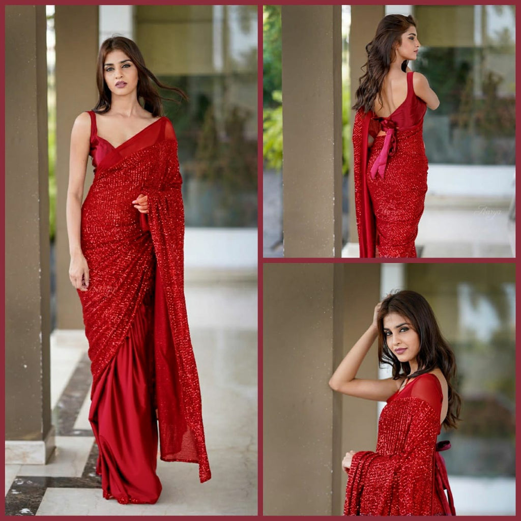 Red Heavy Georgette's With Beautiful Sequins Work Women's Saree Online Shopping
