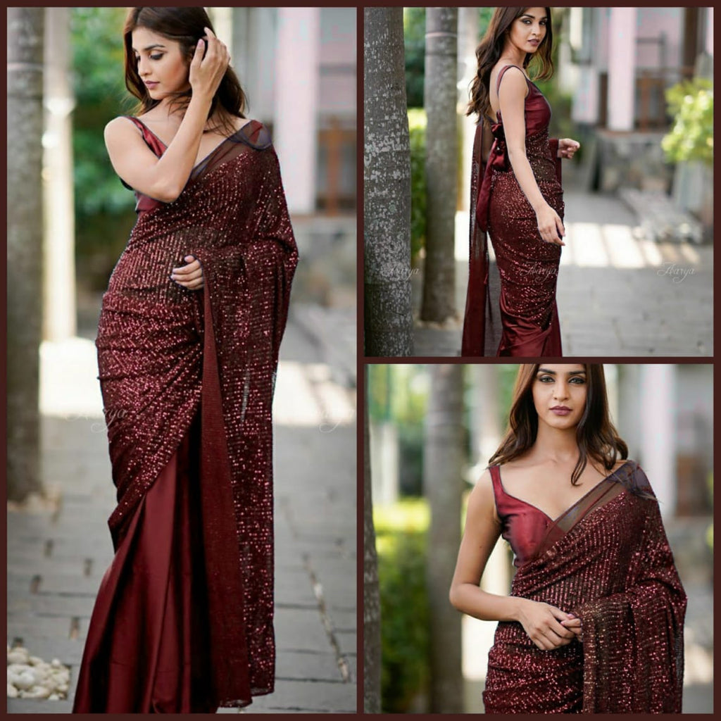 Wine Heavy Georgette's With Beautiful Sequins Work Women's Saree Online Shopping