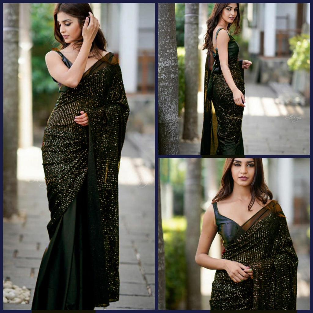 Black Heavy Georgette's With Beautiful Sequins Work Women's Saree Online Shopping