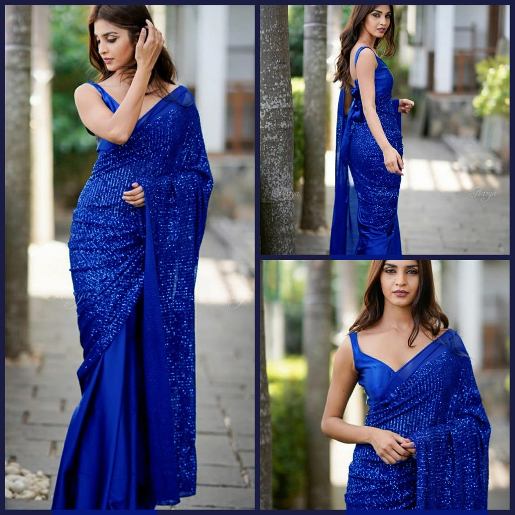 Blue Heavy Georgette's With Beautiful Sequins Work Women's Saree Online Shopping