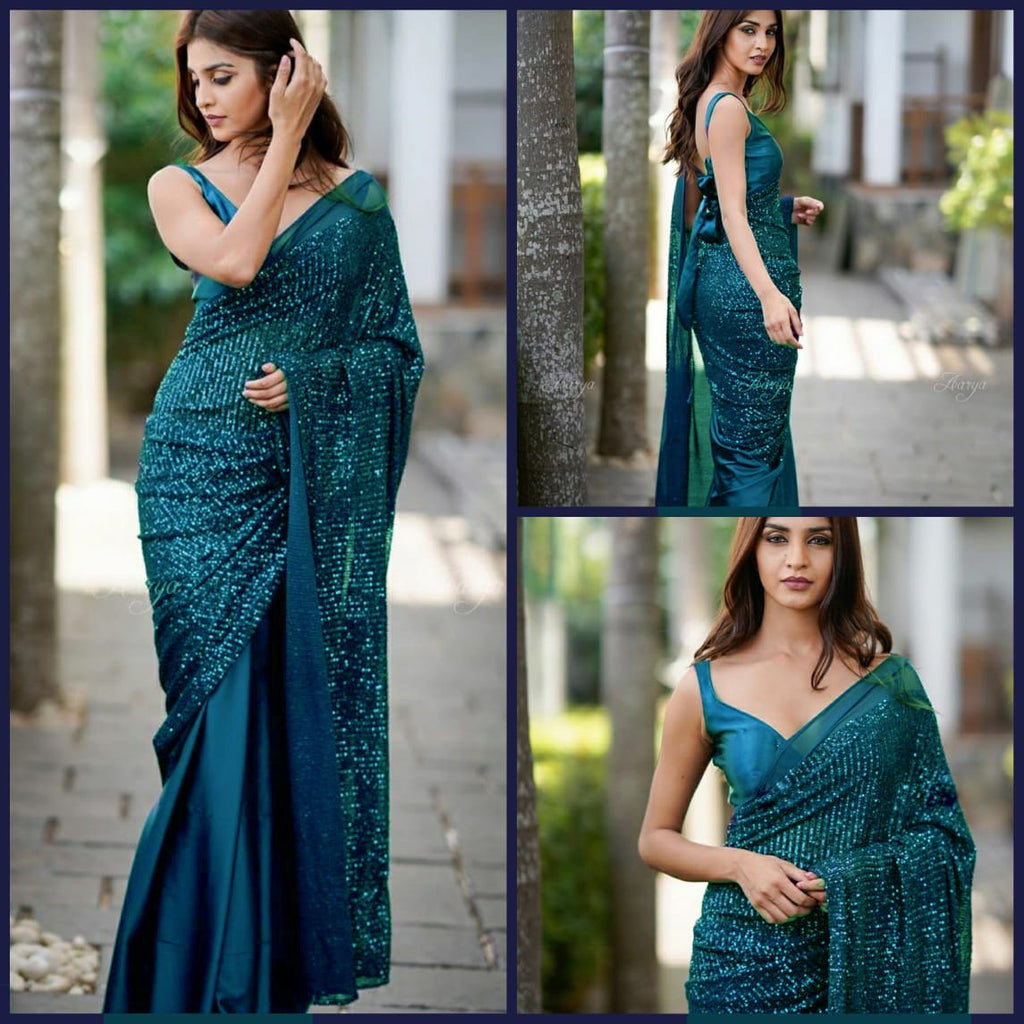 Teal Blue Heavy Georgette's With Beautiful Sequins Work Women's Saree Online Shopping
