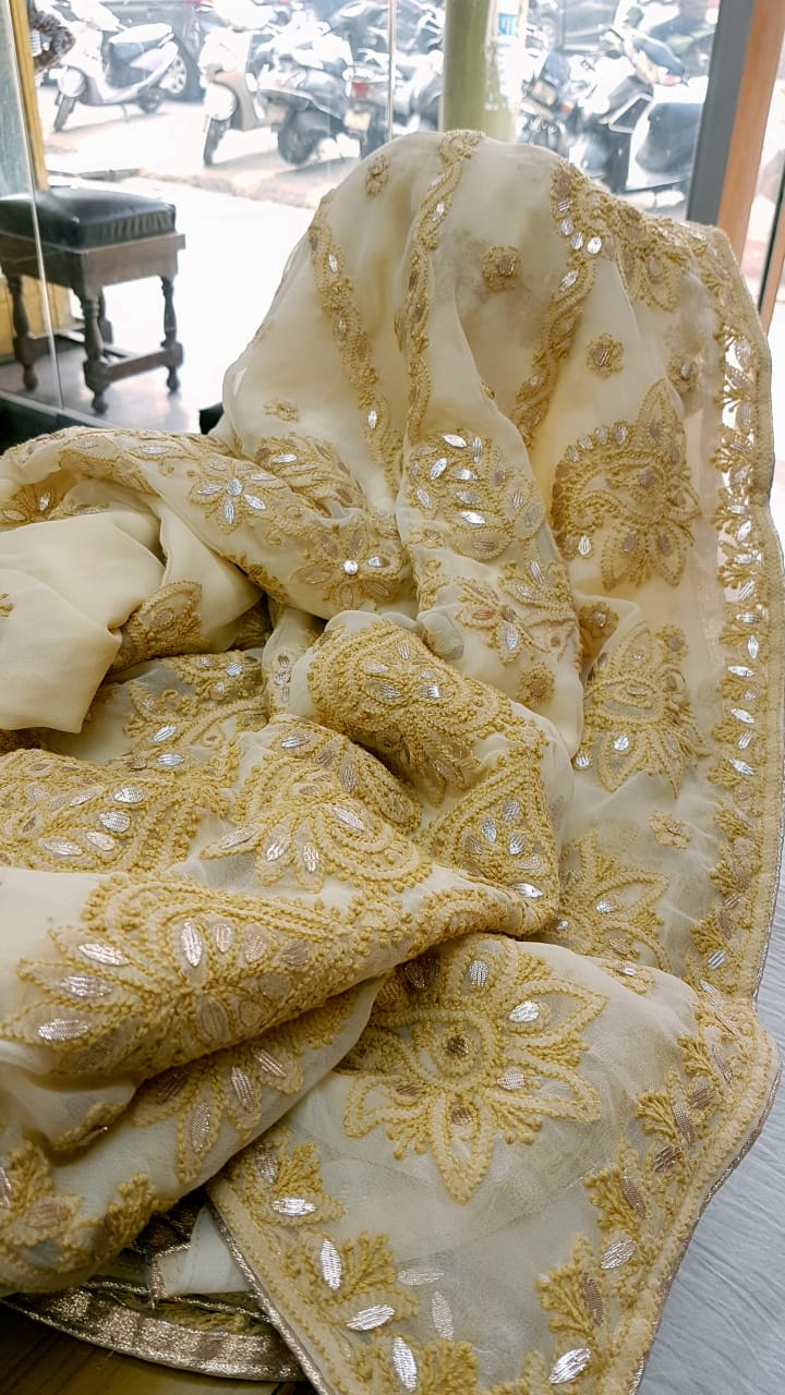Cream Georgette Saree With Chikankari Gota Patti Work Online Shopping