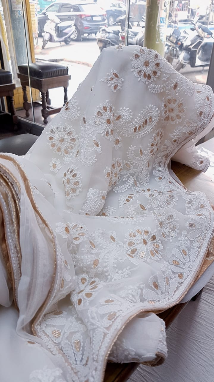 White Georgette Saree With Chikankari Gota Patti Work Online Shopping