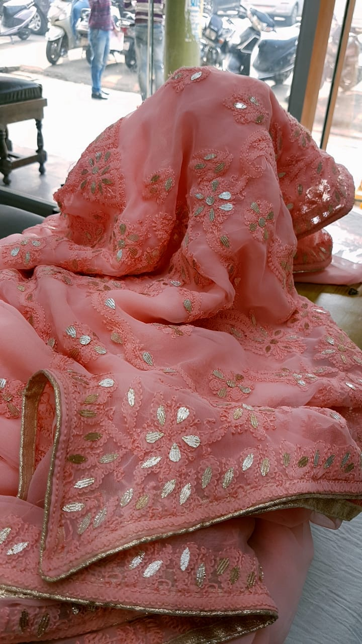 Pink Georgette Saree With Chikankari Gota Patti Work Online Shopping