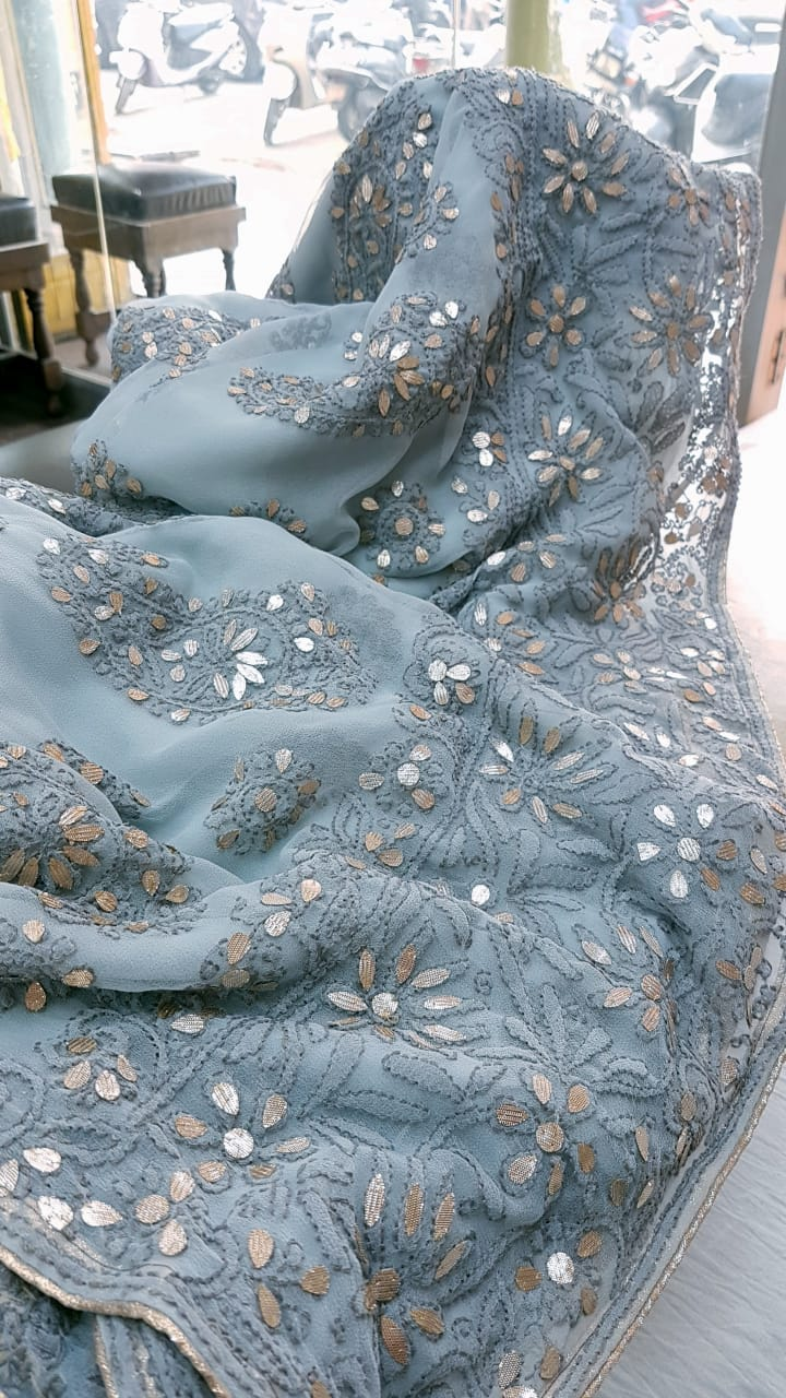 Gray Georgette Saree With Chikankari Gota Patti Work Online Shopping