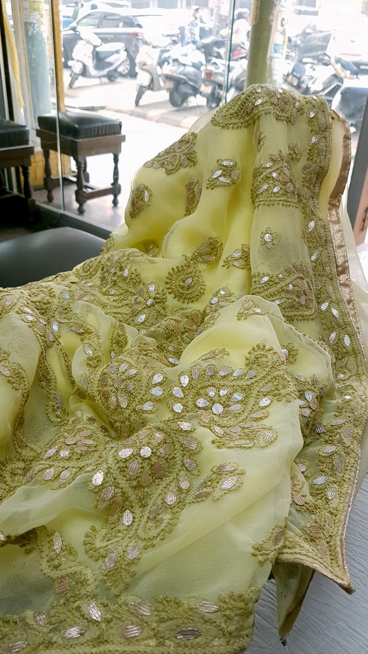 Yellow Georgette Saree With Chikankari Gota Patti Work Online Shopping