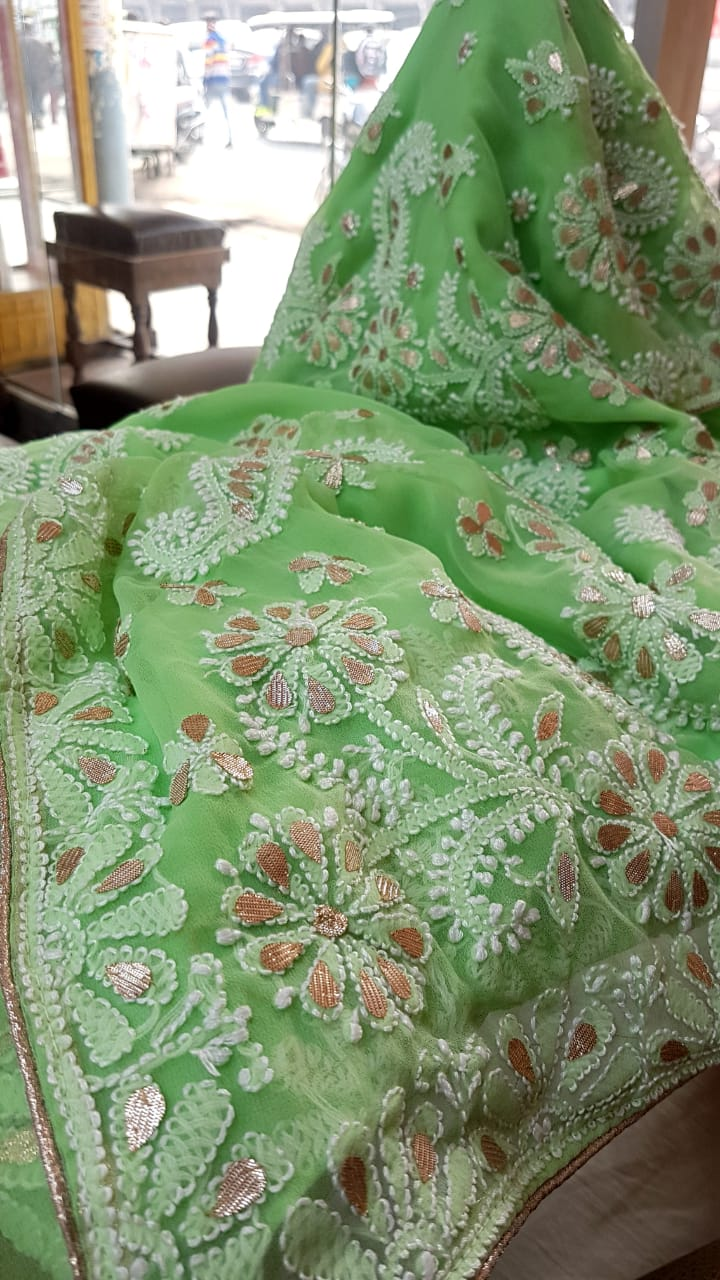 Mint Green Georgette Saree With Chikankari Gota Patti Work Online Shopping
