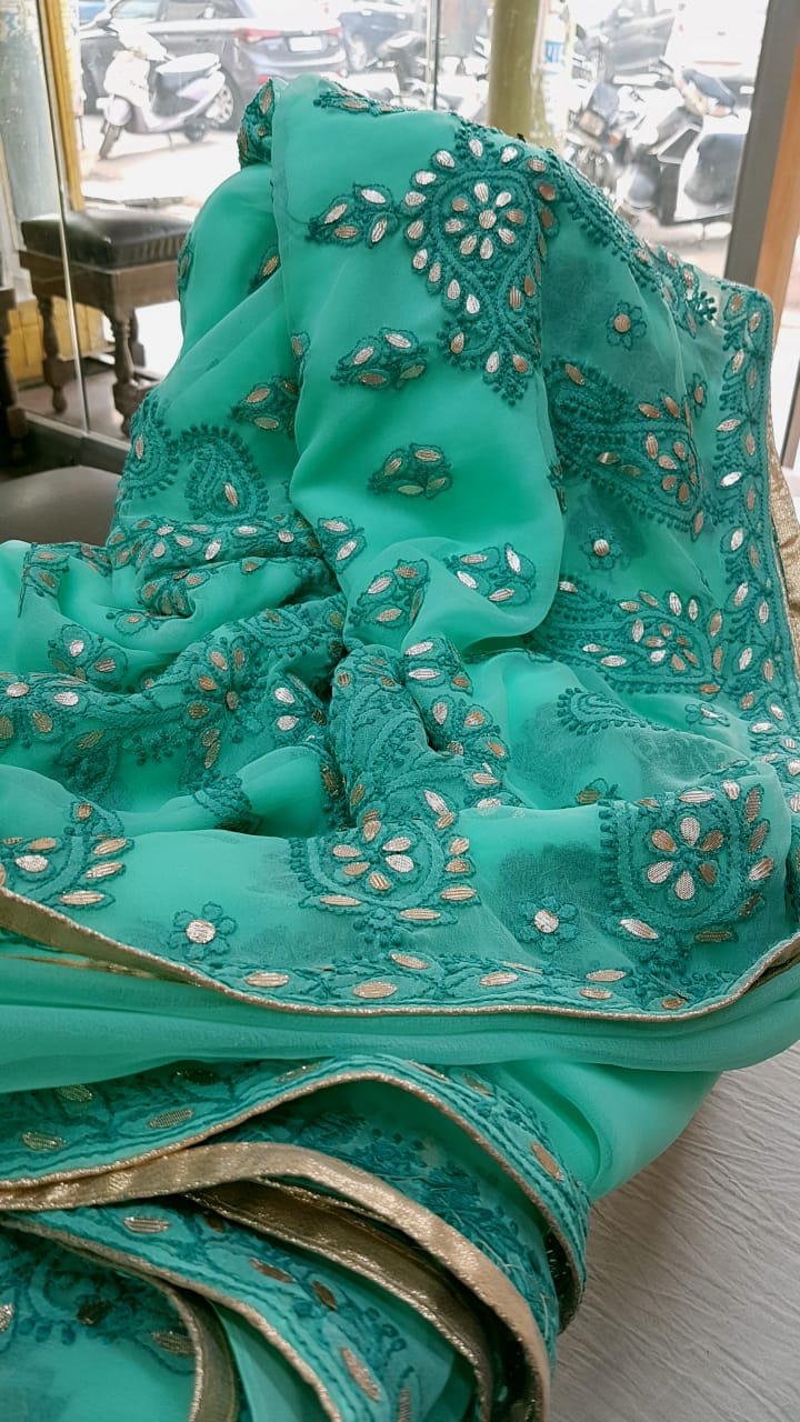Teal Blue Georgette Saree With Chikankari Gota Patti Work Online Shopping