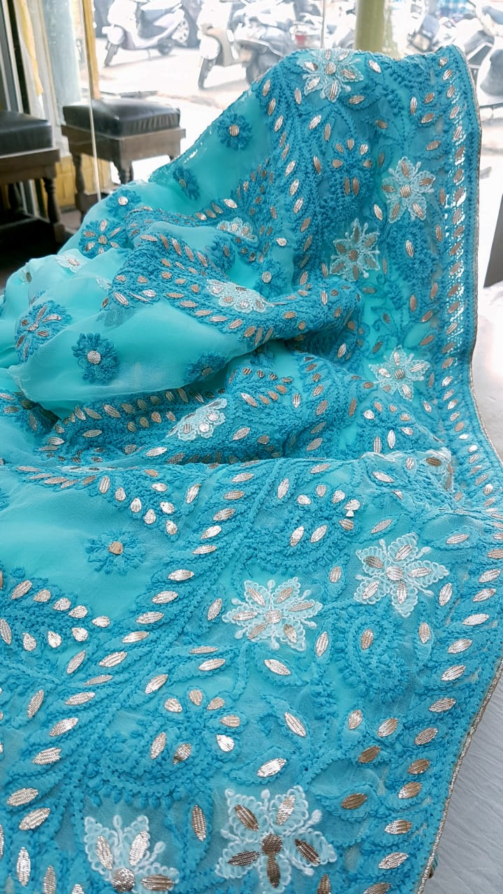 Blue Georgette Saree With Chikankari Gota Patti Work Online Shopping