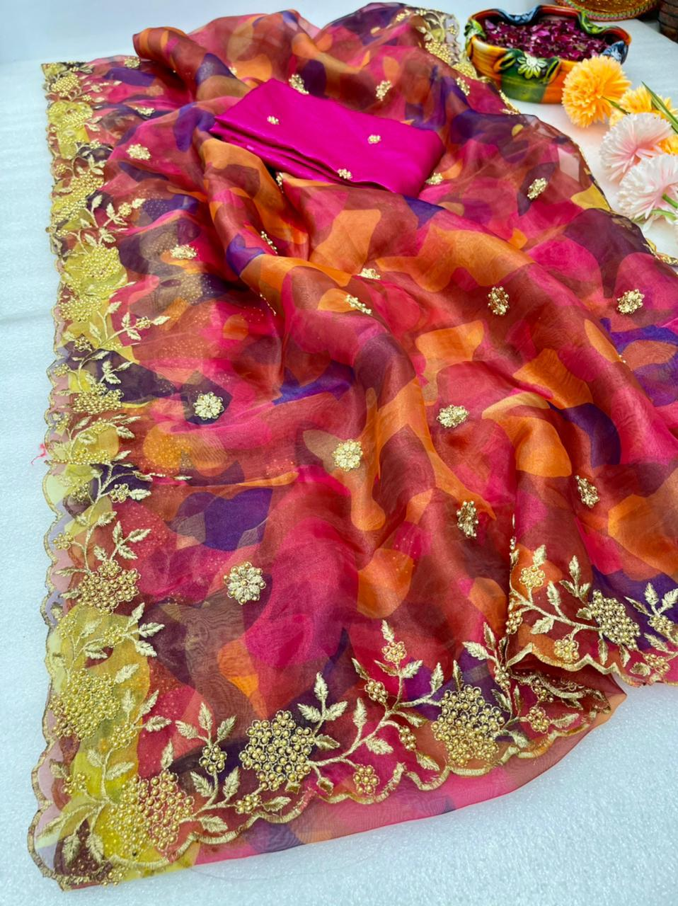 Soft Organza Embroidery Saree With Zari Work Online Shopping