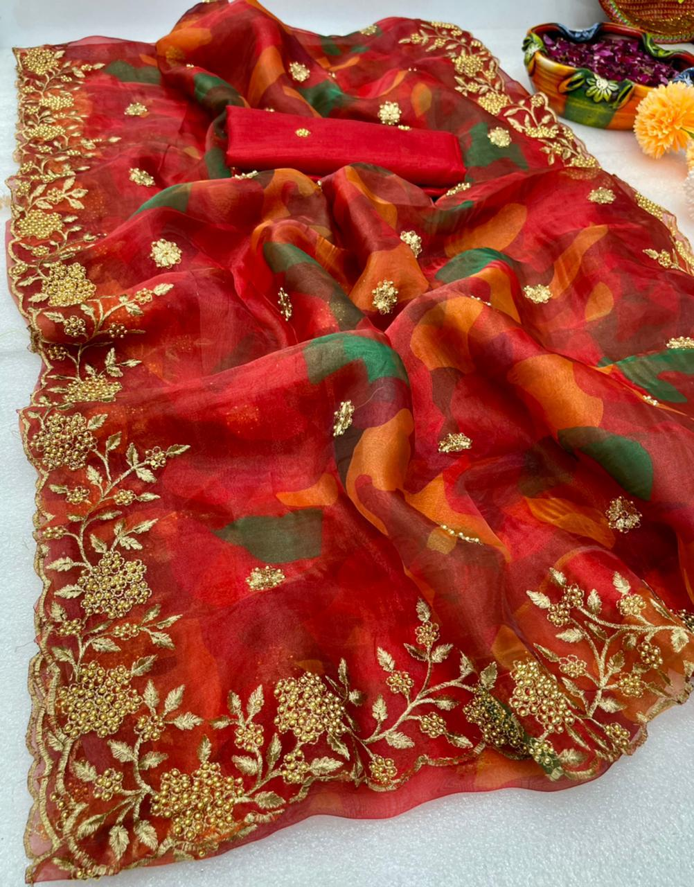 Red Soft Organza Embroidery Saree With Zari Work Online Shopping