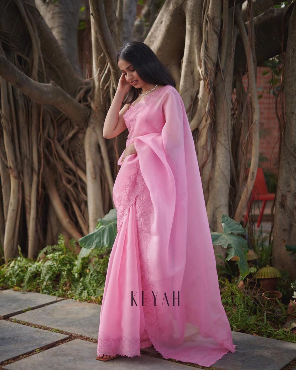 Pink Soft Organza Saree With Heavy Thread Work  Online Shopping