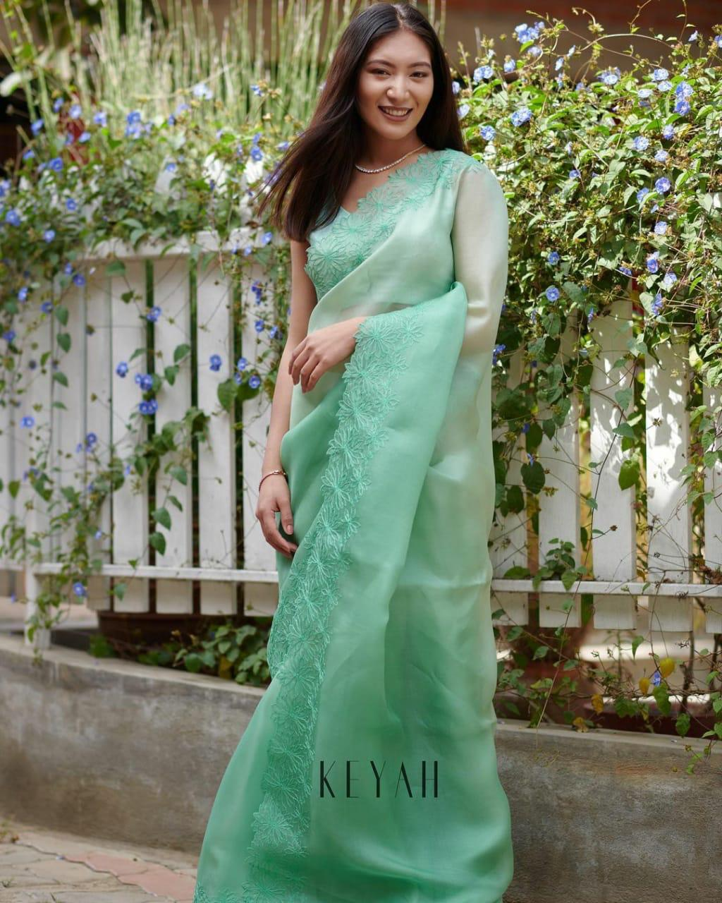 Light Green Soft Organza Saree With Heavy Thread Work  Online Shopping