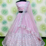 Light Pink Silk Net Fancy Lehenga Choli Online