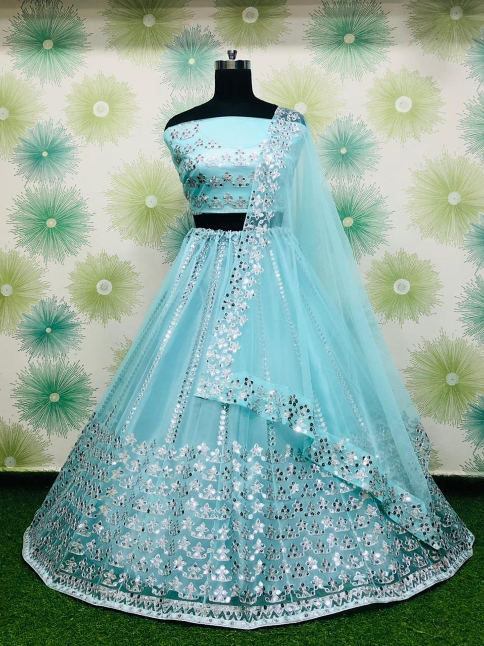 Light Blue Net Silk Fancy Lehenga Choli Online