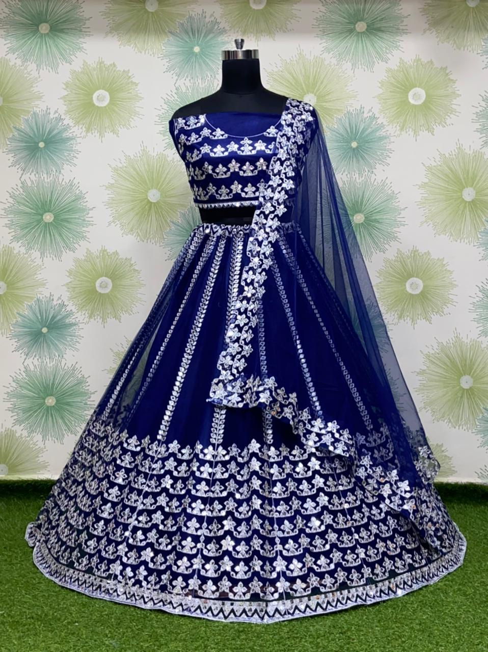 Blue Silk Net Fancy Lehenga Choli Online