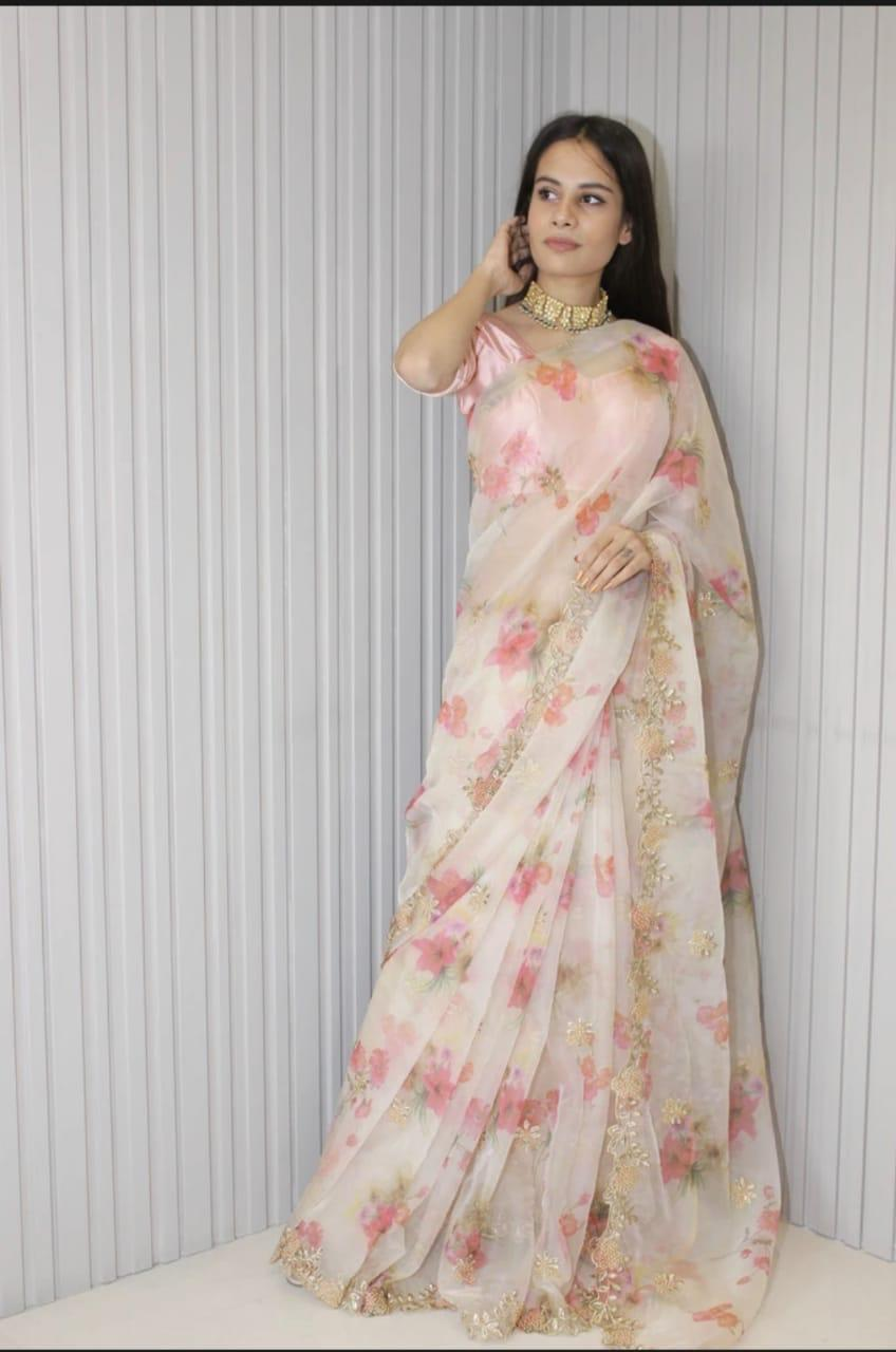 Floral Soft Organza Saree With Embroidery And Hand Stone Work Online Shopping